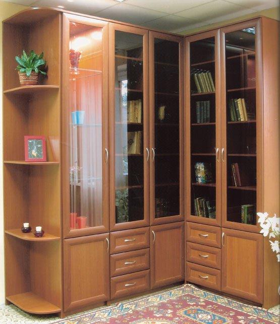 Угловой шкаф библиотека мдф.